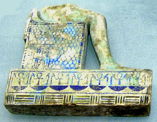 Lower part of inlay of enthroned mummiform god