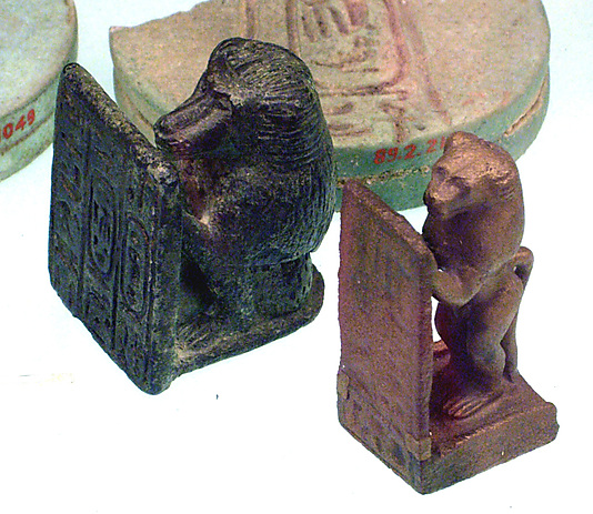 Baboon holding a stela with the name Khnemibre (Amasis)