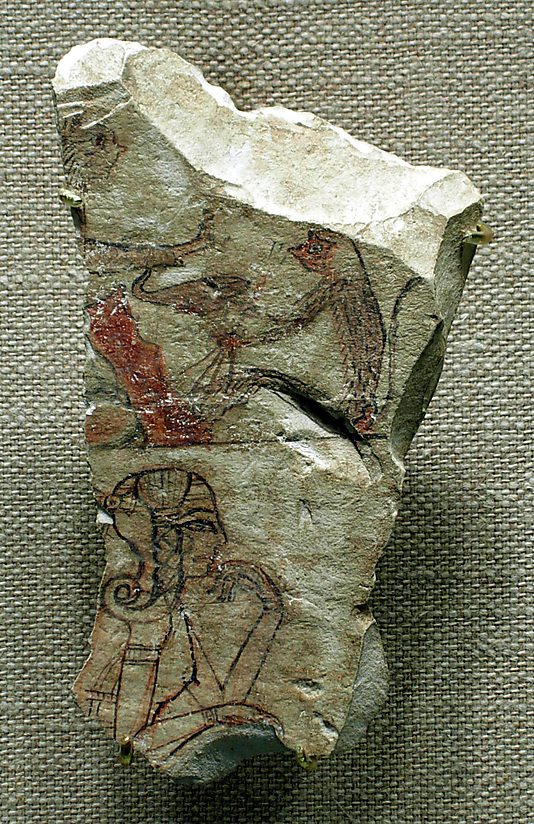 Ostracon depicting an animal fable or myth in the upper register and a princess (?) in the lower