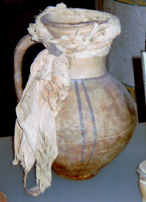 Jug and Lid Secured with Linen