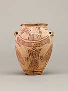 Decorated ware jar depicting boats and plants