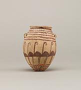 Decorated ware jar depicting water and flamingos