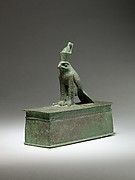 Falcon surmounting box for an animal mummy