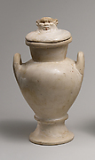 Two Handled Jar and Lid with the Head of Bes