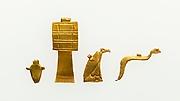Group of 4 Amulets of Djedmutesankh: Cobra, Vulture, Heart, and Djed Pillar