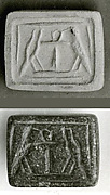 Stamp Seal Inscribed With An Ankh Between Two Falcons