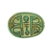 Scarab Inscribed with Plant Motifs and Hieroglyphs