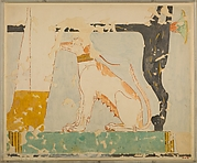 Facsimile of a painting in the tomb of Nebamun: dog seated beneath Its owner's chair