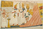 Deceased censing and libating to the deified Mentuhotep and Ahmose-Nefertari, with the Hathor cow emerging from the mountain; Tomb of Ameneminet
