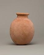 Globular necked jar of desert clay