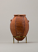 Decorated ware jar with lug handles