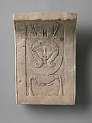 Sculptor's model / votive: Hathor emblem, curved as if from a temple frieze