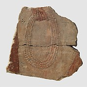 Fragment of a figure holding a multistrand coil of beads, preceded by another individual