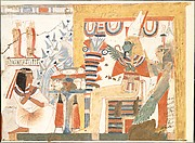 Userhat Kneeling Before Osiris and the Goddess of the West, Tomb of Userhat