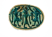 Scarab with a Solar/Lunar Deity (?) Protected by Two Animal Headed Figures