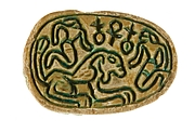 Canaanite Scarab with Two Men and a Lion