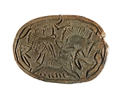 Scarab with a Lion Hunting Horned Animals