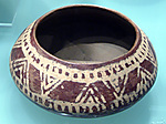 White cross-lined carinated bowl with geometric decoration