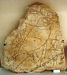 Ostracon with relief of bird and ankh