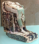 Lower half of a goddess on a throne with Bes figures, its base formed by prostrate captives