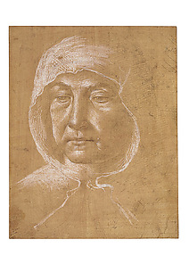 Head of an Old Woman Wearing a Hood