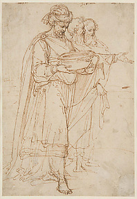 Three Standing Male Figures, One Bearing a Vessel (Study for the Three Magi?)