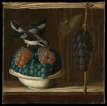 Still Life with Grapes and a Bird
