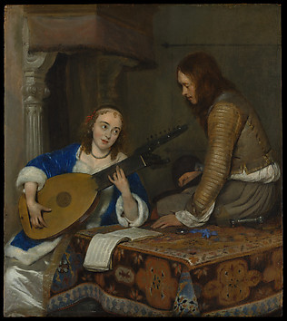A Woman Playing the Theorbo-Lute and a Cav...