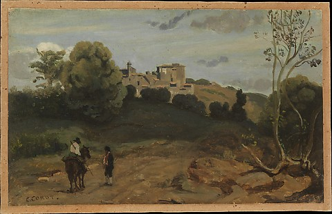 View of Genzano with a Rider and Peasant