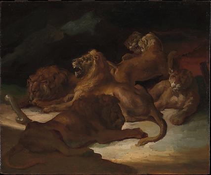 Lions in a Mountainous Landscape
