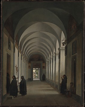 Monks in the Cloister of the Church of Ges...