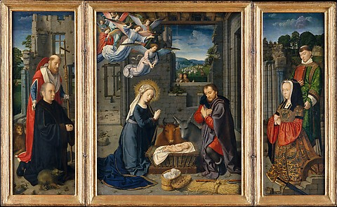 The Nativity with Donors and Saints Jerome...
