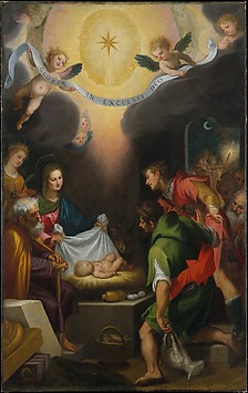 The Adoration of the Shepherds with Saint ...