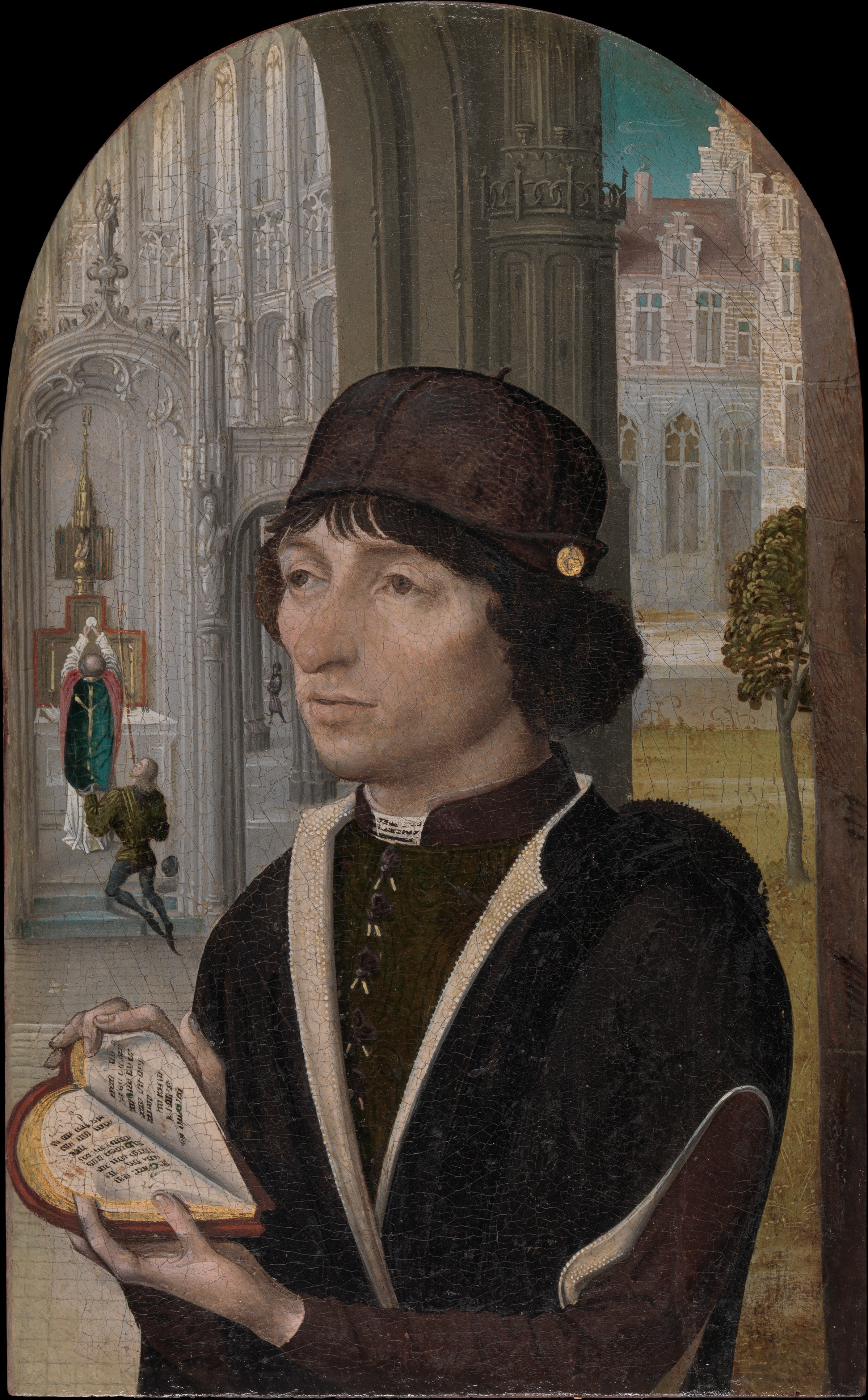 master of the view of sainte gudule young man holding a book share by email
