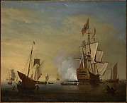 Harbor Scene: An English Ship with Sails Loosened Firing a Gun