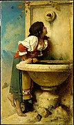 Roman Girl at a Fountain