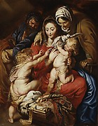 The Holy Family with Saint Elizabeth, Saint John, and a Dove