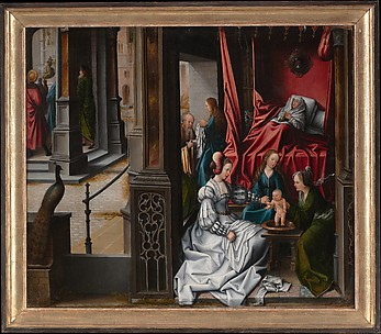 The Birth and Naming of Saint John the Baptist; (reverse) Trompe-l&#39;oeil with Painting of The Man of Sorrows