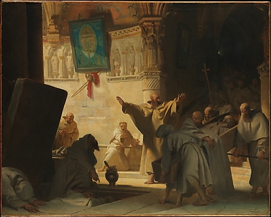 Dramatic Scene with Monks in a Crypt
