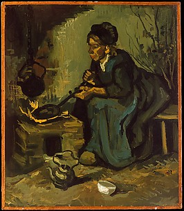 Peasant Woman Cooking by a Fireplace