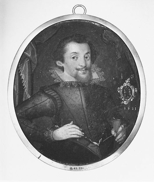 Fascinating Historical Picture of Monogrammist IS with Portrait of a Man in 1621
