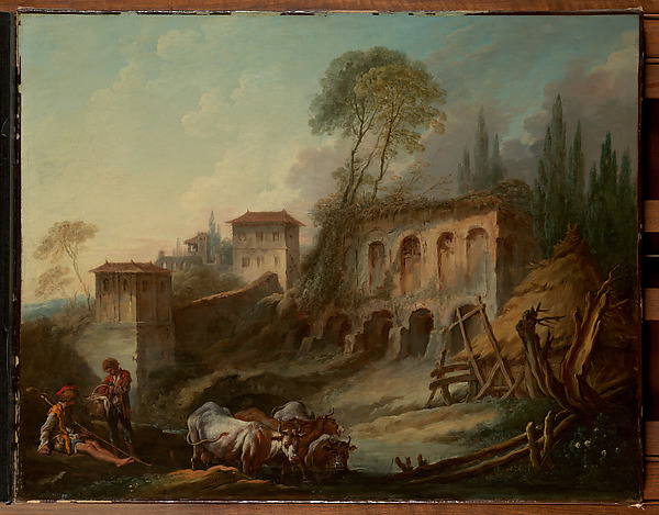 Fascinating Historical Picture of Franois Boucher with Imaginary Landscape with the Palatine Hill from Campo Vaccino in 1734