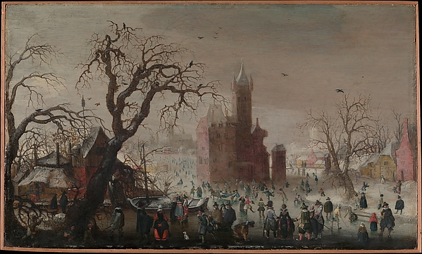 A Winter Landscape with Ice Skaters and an Imaginary Castle