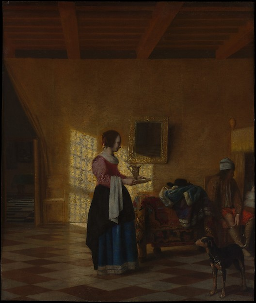 Woman with a Water Pitcher, and a Man by a Bed (