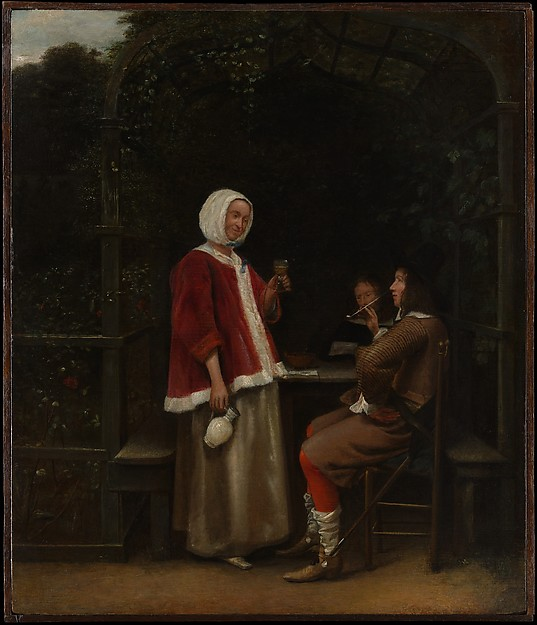 A Woman and Two Men in an Arbor