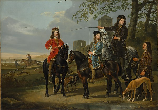 "Equestrian Portrait of Cornelis (1639–1680) and Michiel Pompe van Meerdervoort (1638–1653) with Their Tutor and Coachman (""Starting for the Hunt"")"