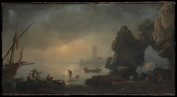 Harbor Scene with a Grotto and Fishermen Hauling in Nets