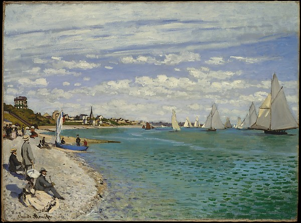 Fascinating Historical Picture of Claude Monet with Regatta at Sainte-Adresse in 1867