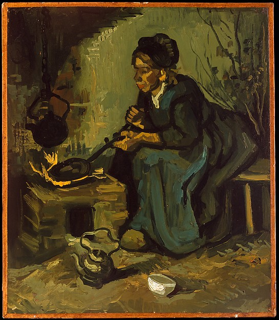 Fascinating Historical Picture of Vincent van Gogh with Peasant Woman Cooking by a Fireplace in 1885