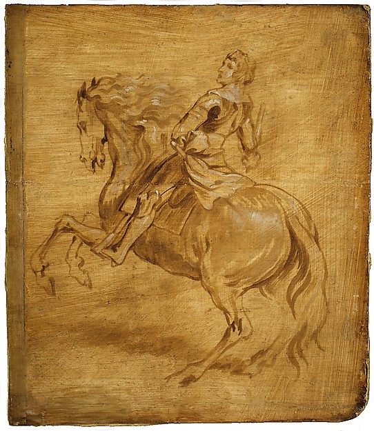 Fascinating Historical Picture of Anthony van Dyck with A Man Riding a Horse in 1630